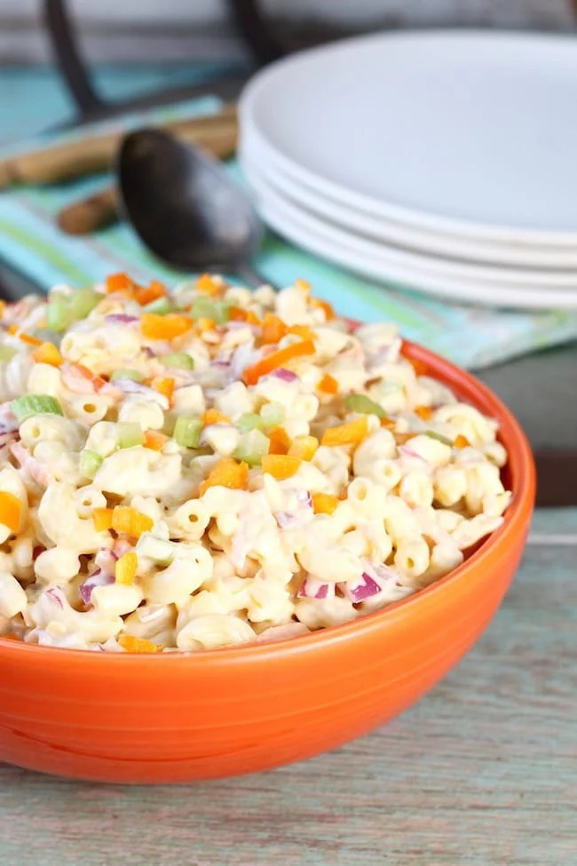 Sweet Macaroni Salad with peppers, carrots and red onion