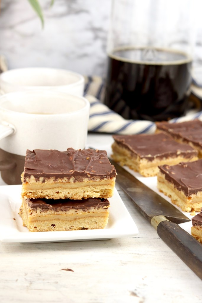 Chocolate Toffee Bars with coffee cups and French Press
