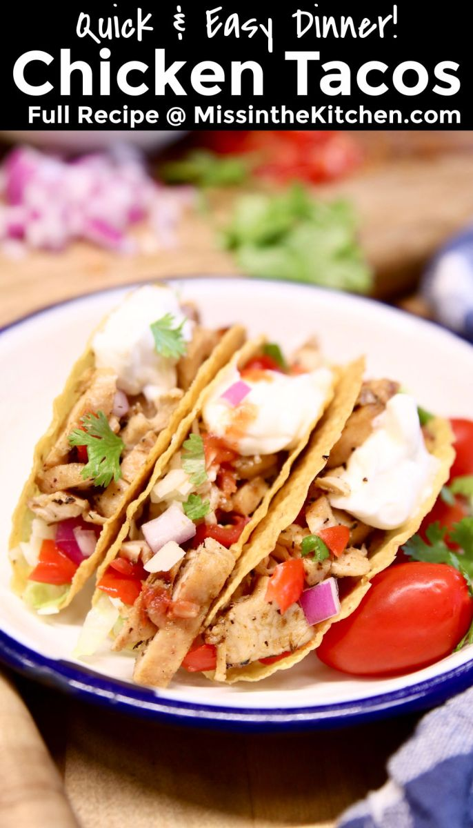 Chicken Tacos with text overlay