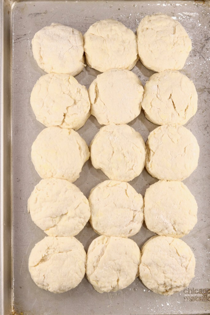 Buttermilk biscuits on a baking sheet