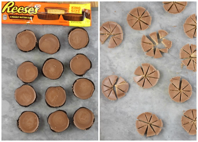 collage Reese's Peanut Butter Cup package, 12 peanut butter cups, and chopped peanut butter cups