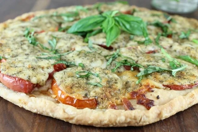 Tomato Pesto Tart Recipe found at missinthekitchen