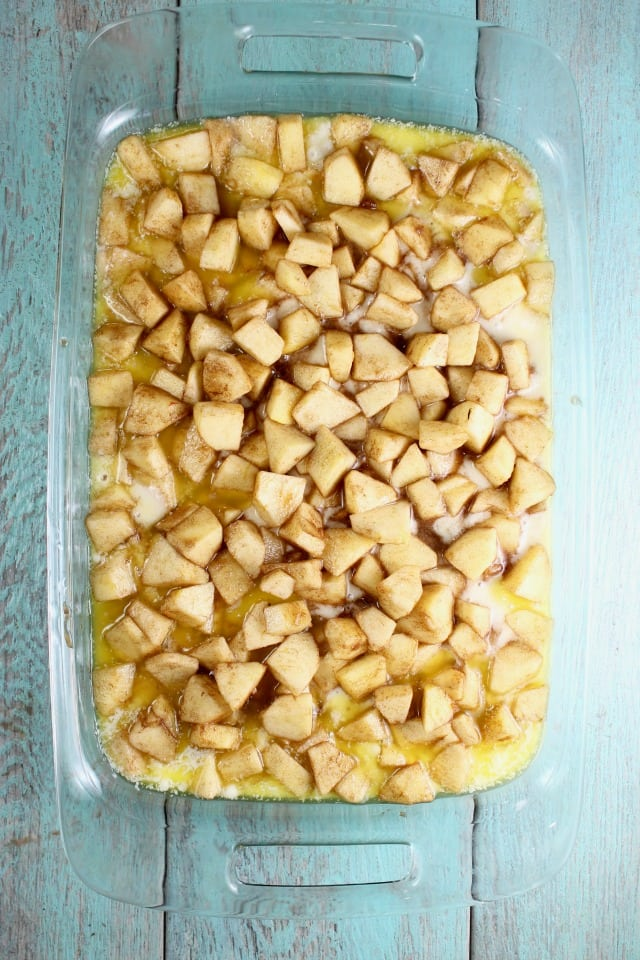 Easy Apple Cobbler with chopped apples ready for the oven