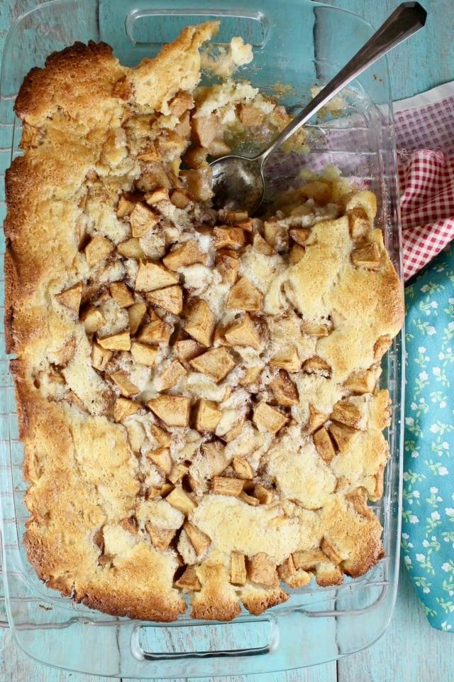 Easy Apple Cobbler baked dessert with spoon
