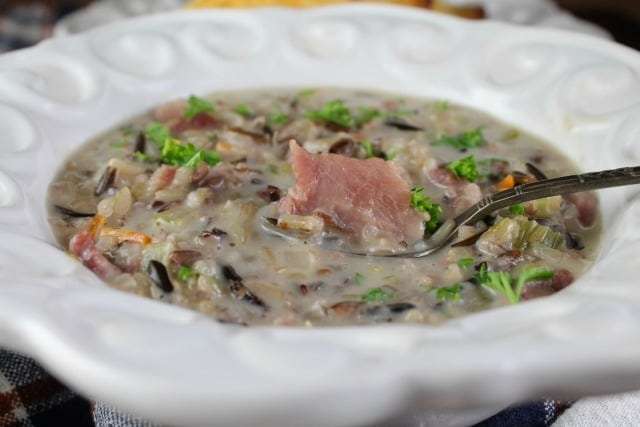Creamy Ham and Wild Rice Soup Recipe found at MissintheKitchen.com