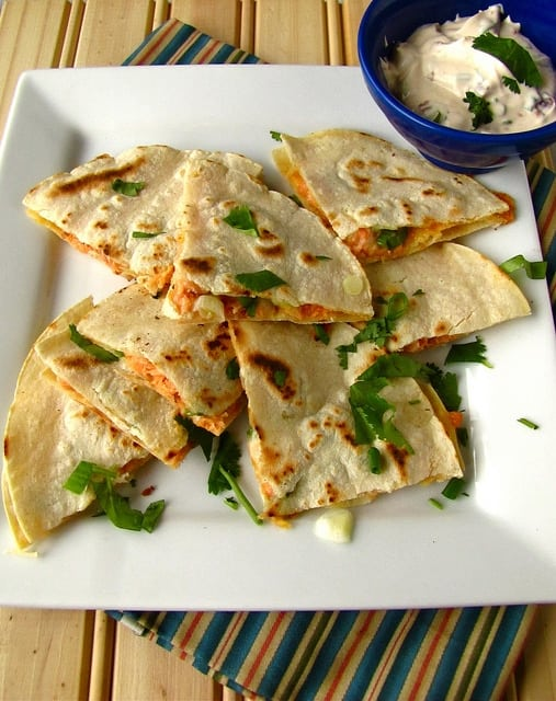smoked salmon quesadilla, see more at http://homemaderecipes.com/uncategorized/10-easy-recipes-leftovers