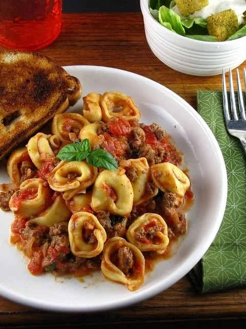 Easy  Cheese Tortellini with Meat Sauce | Miss in the Kitchen