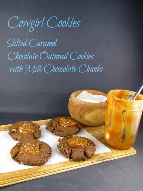 Cowgirl Cookies: Salted Caramel Chocolate Oatmeal Cookies with Milk Chocolate Chunks from Miss in the Kitchen