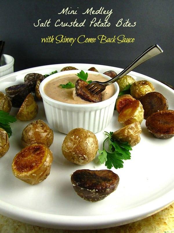 Salt Crusted Mini Medley Potato Bites with Skinny Comeback Sauce from missinthekitchen.com