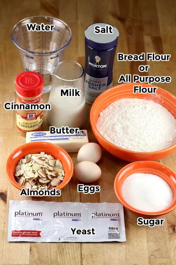 Ingredients for Coffee Cake with text labels