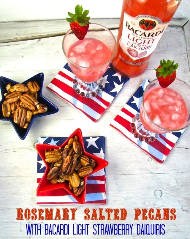 Rosemary Salted Pecans with Bacardi Strawberry Daquiris