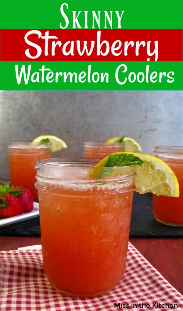 Skinny Strawberry Watermelon Coolers in mason jars