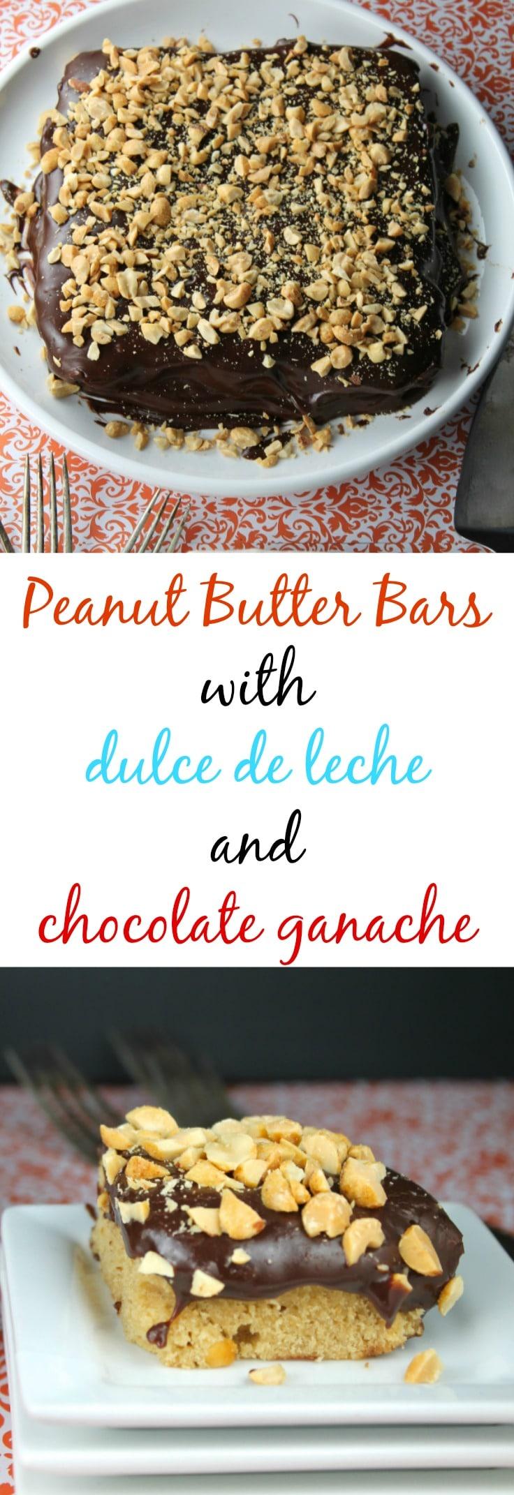 Peanut Butter Bars with dulce de leche and chocolate ganache  Recipe found at missinthektichen.com