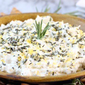 Whipped Feta Spread with garlic, rosemary and lemon