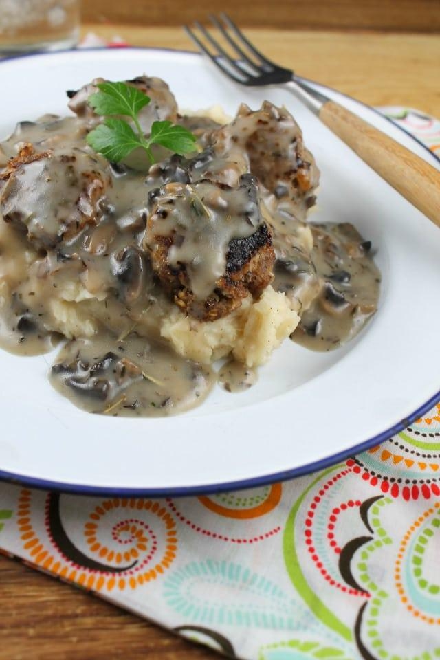 creamy mushroom gravy and meatballs