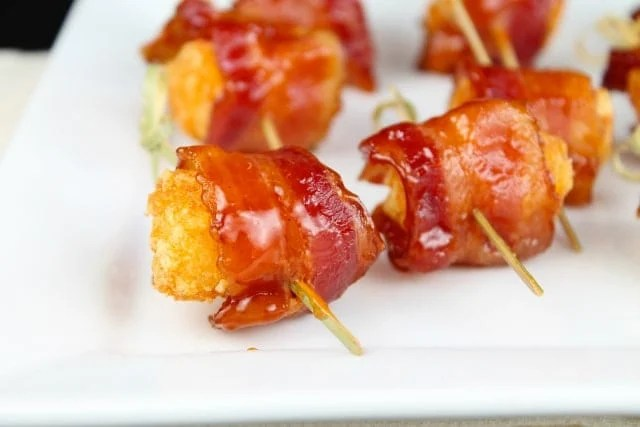 Barbecue Bacon Wrapped Tater Tots #bacon
