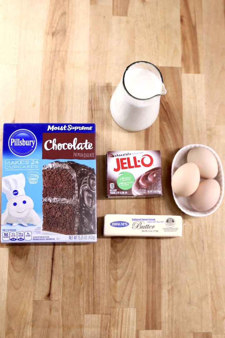 Ingredients for cake mix chocolate cupcakes: mix, eggs, milk butter, pudding mix