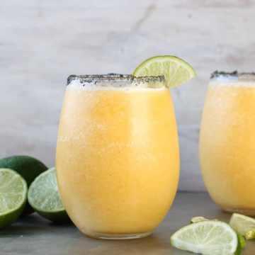 Frozen Peach Margarita Recipe ~ Easy slushie cocktail perfect for summer parties!