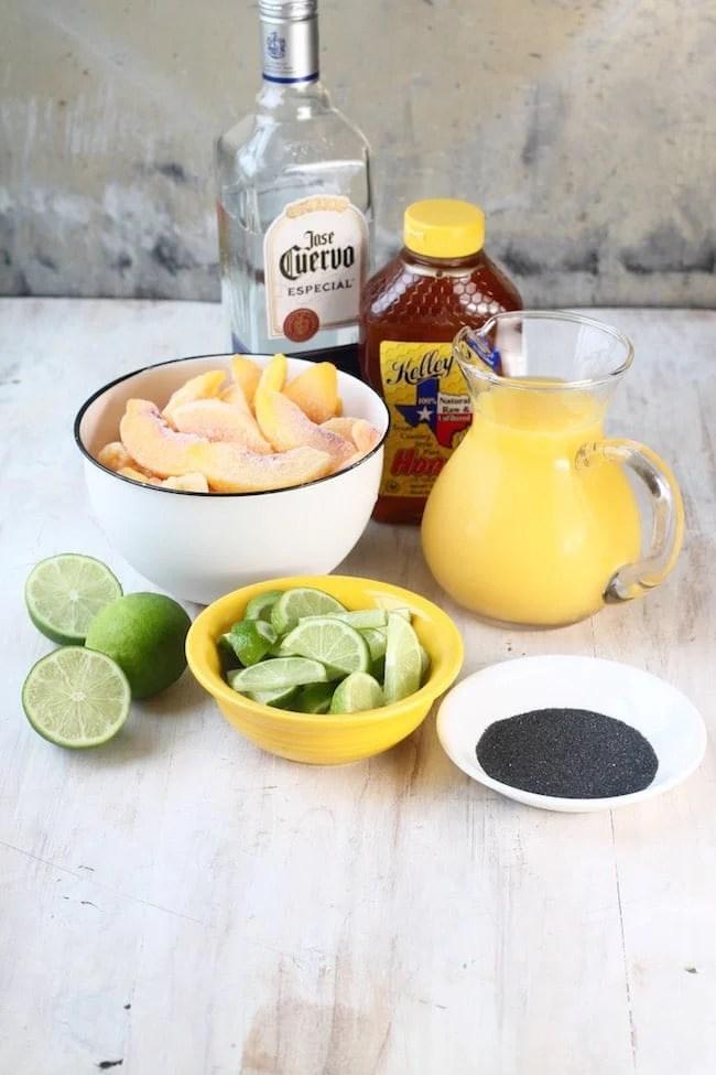 Ingredients for Frozen Peach Margaritas