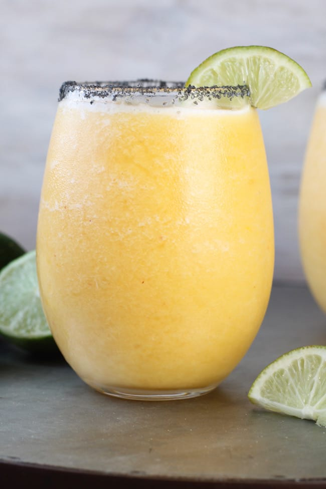 Frozen Peach Margarita with Black Salt