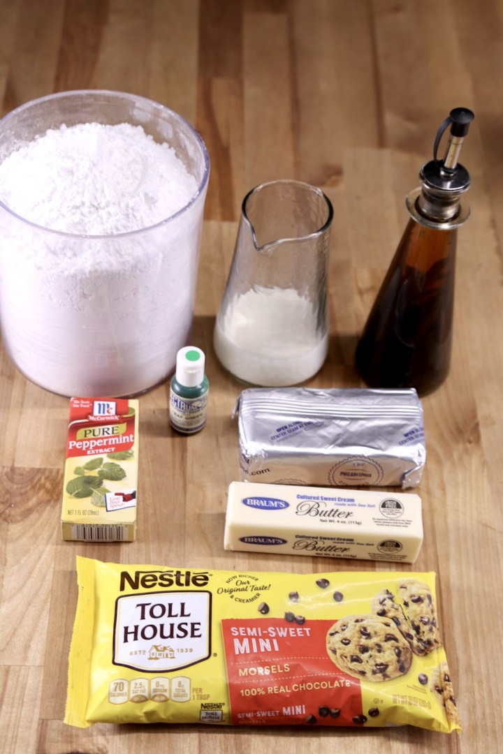 Ingredients for mint cream cheese frosting