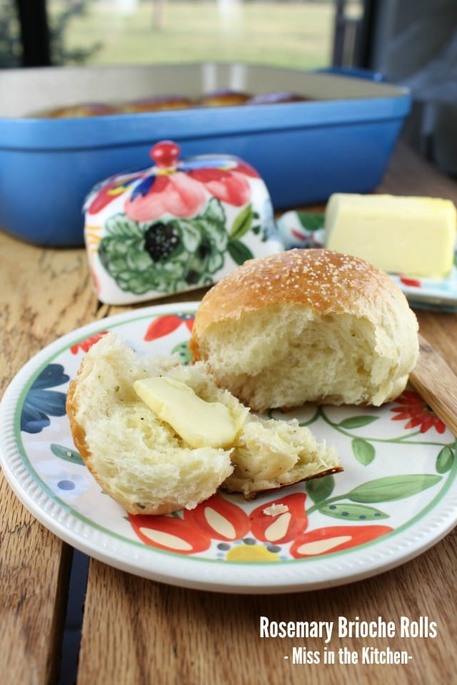 | Rosemary Brioche Rolls from Miss in the Kitchen