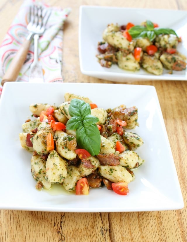 Gnocchi with Bacon, Tomato and Pesto from Miss in the Kitchen #glutenfree
