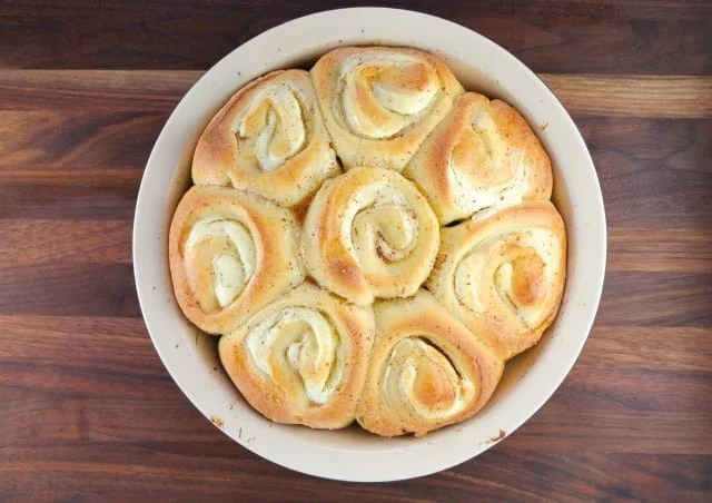 Cream Cheese Filled Brioche Sweet Rolls with Maple Brown Butter Glaze from Miss in the Kitchen