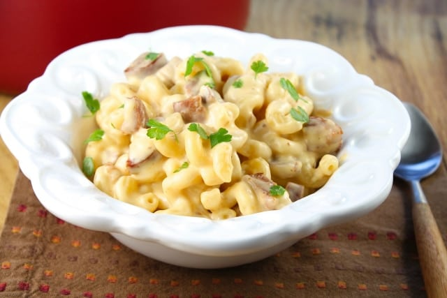Smoky Mac and Cheese with Andouille Sausage from Miss in the Kitchen