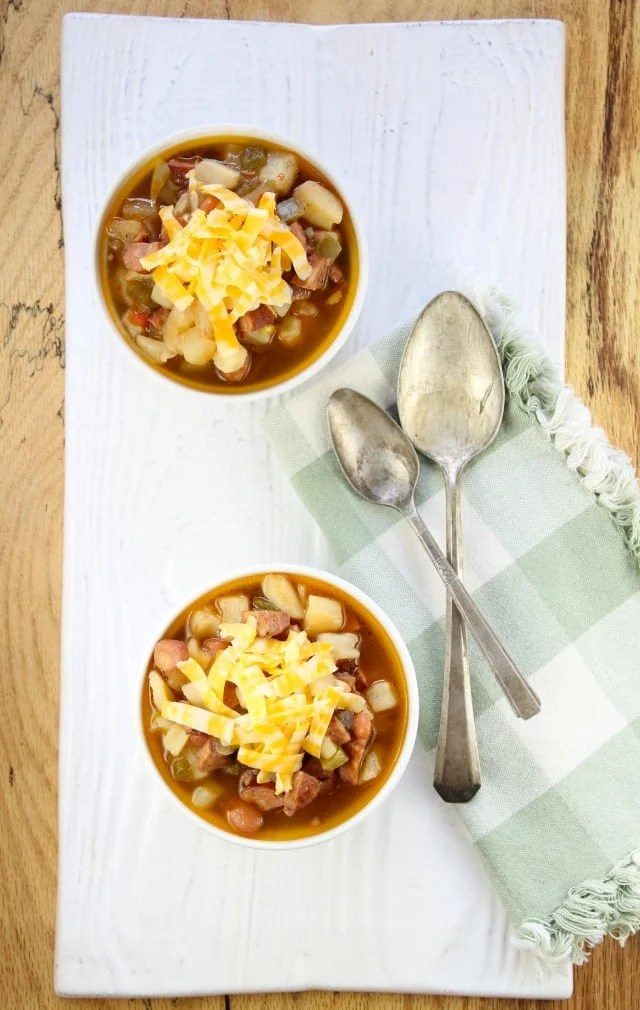 Chorizo and Potato Soup From Miss in the Kitchen