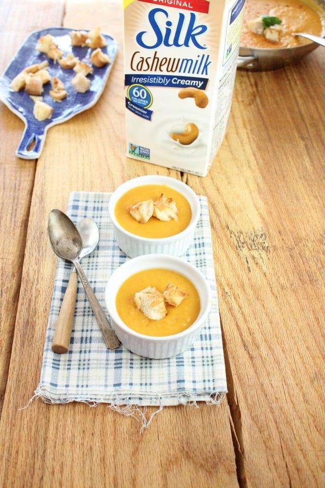 Butternut Squash Soup with Silk Cashew Milk From missinthekitchen.com