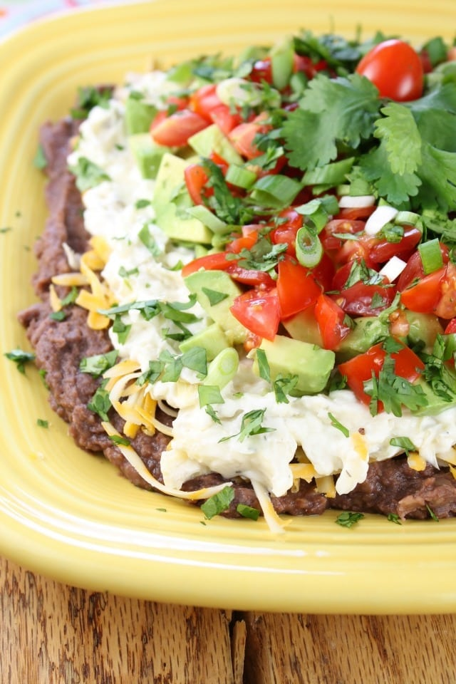 Artichoke & Jalapeño 7 Layer Mexican Dip from Miss in the Kitchen