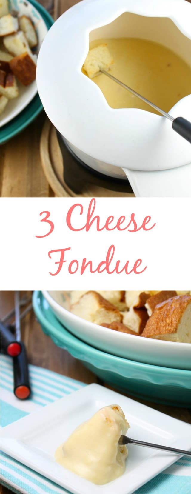 Three Cheese Fondue ~ recipe found at missinthekitchen.com