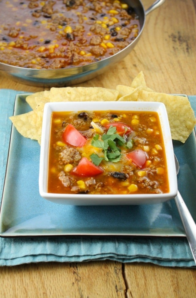 An Easy and Delicious Taco Soup Recipe found at missinthekitchen.com