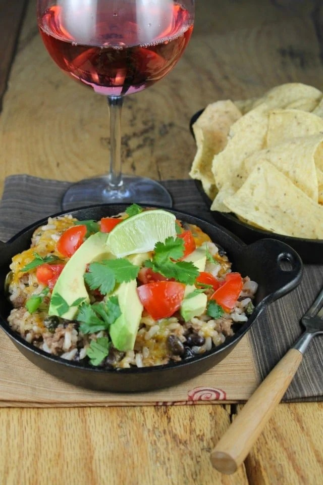 Tex-Mex Cheesy Rice Casserole with Ground Beef and Black Beans from Miss in the Kitchen