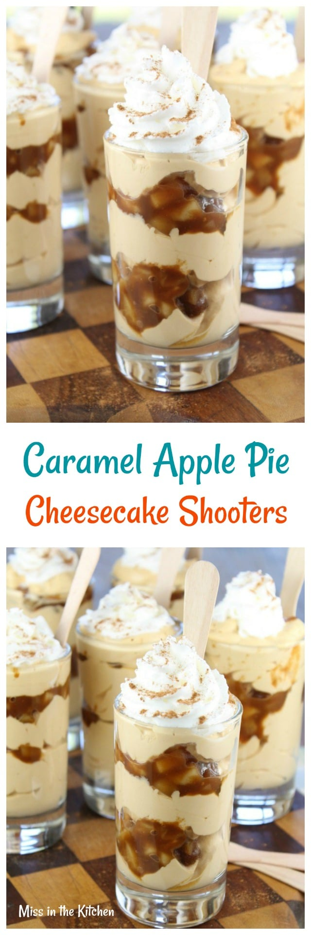Caramel Apple Pie Cheesecake Shooters Recipe from MissintheKitchen.com #ad #AppleButterSpin @Musselmans