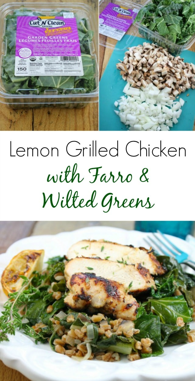 Lemon Grilled Chicken with Farro and Wilted Greens recipe found at missinthekitchen.com #HealthyEyes