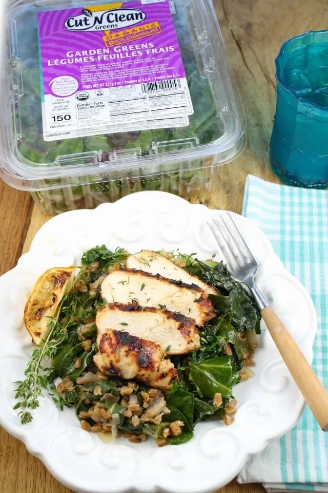 Lemon Grilled Chicken with Farro and Wilted Greens Recipe from Miss in the Kitchen #HealthyEyes with Cut 'N Clean Greens