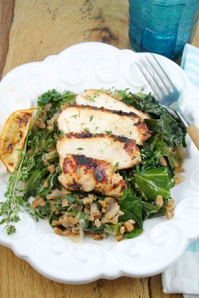 Lemon Grilled Chicken with Farro and Wilted Greens Recipe from missinthekitchen #HealthyEyes