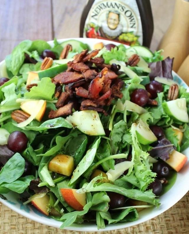 An incredible main dish salad ~ Balsamic, Bacon and Pecan Summer Salad Recipe from missinthekitchen.com