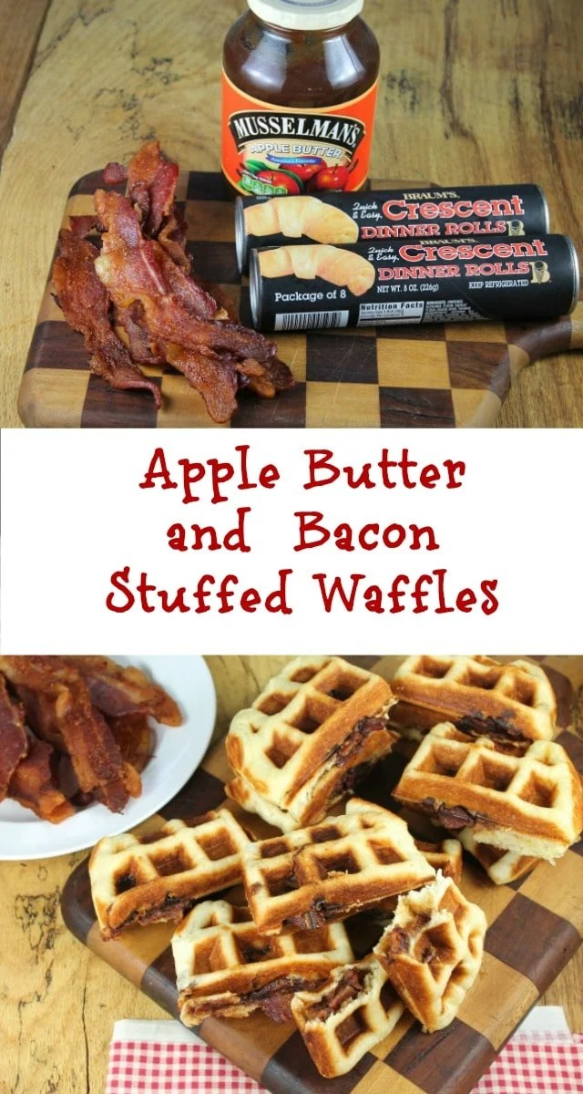 Apple Butter and Bacon Stuffed Waffles Recipe ~ a perfect hand-held breakfast for busy mornings from Miss in the Kitchen #AppleButterSpin