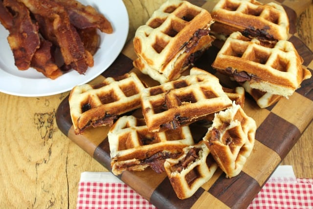 #AppleButterSpin Apple Butter and Bacon Stuffed Waffles -missinthekitchen