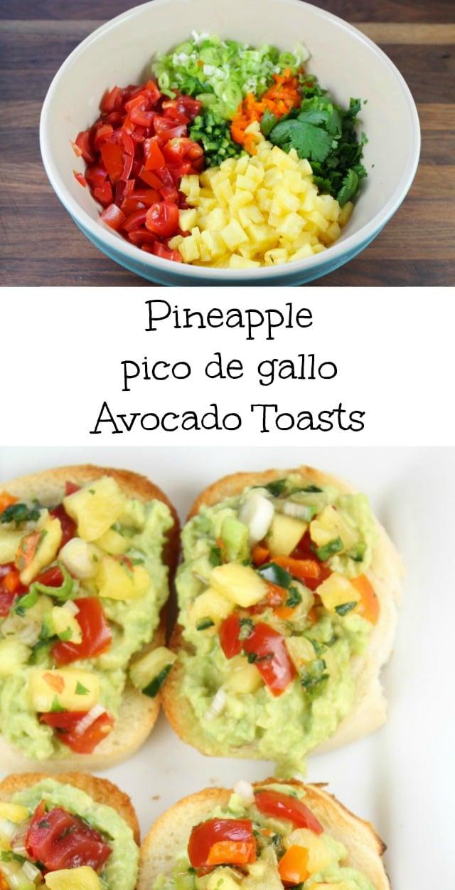 Pineapple pico de gallo Avocado Toasts Recipe from missinthekitchen.com #appetizer