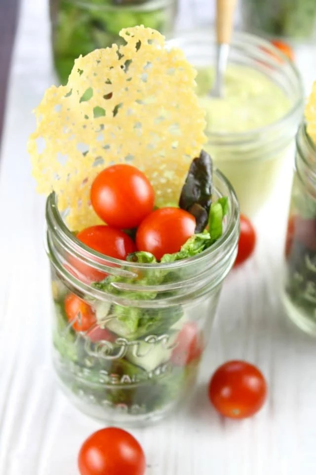 Summer Salads in Jars, Dubliner Cheese Crisps & Avocado Dressing Recipe from Miss in the Kitchen