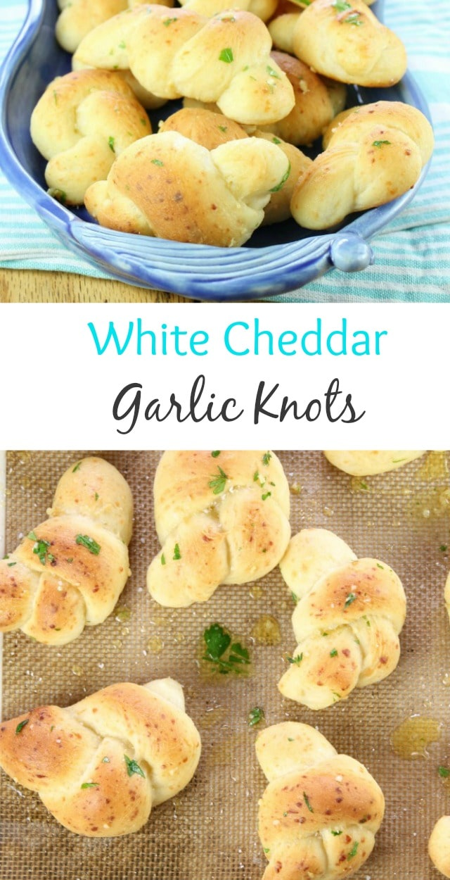White Cheddar Garlic Knots Recipe found at Miss in the Kitchen