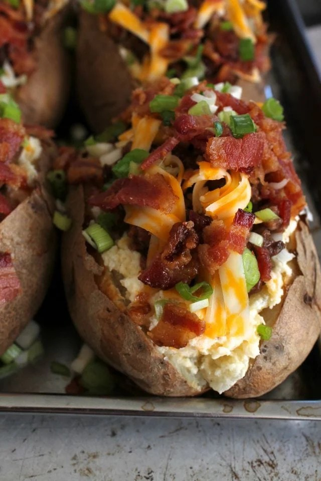 Bacon Cheese Burger Twice Baked Idaho Potatoes