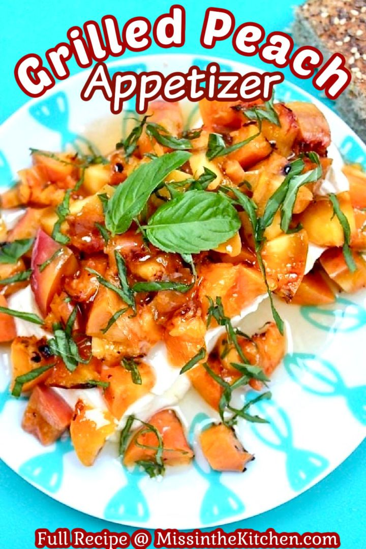 Grilled peaches over cream cheese with honey and basil