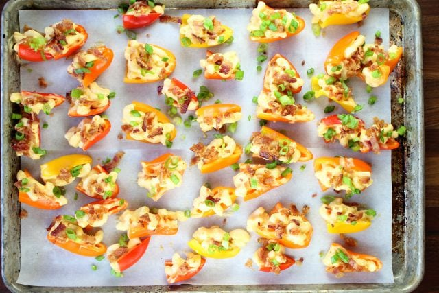 Bacon Mac and Cheese Stuffed Mini Peppers ~ missinthekitchen