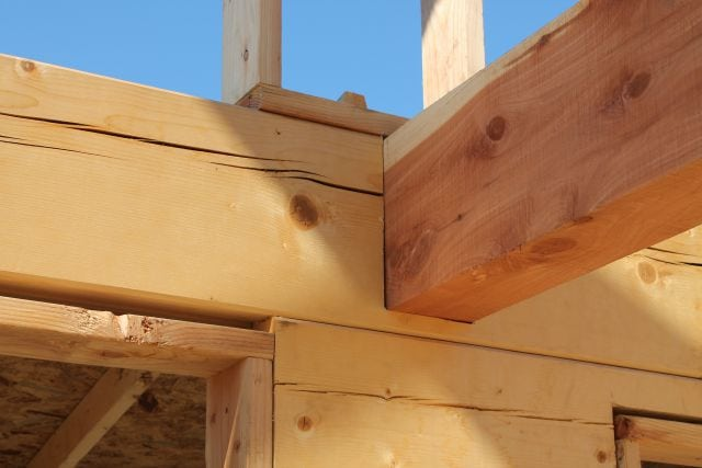 Cedar Beam Notched into Log over Kitchen  Log Cabin Saturday #4 Miss in the Kitchen