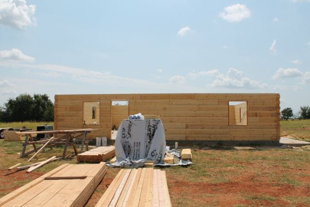 Front Finished Log Wall Log Cabin Saturday #2 Miss in the Kitchen
